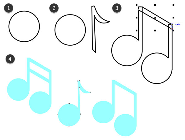 Drawn music notes colour Surreal simple notes Poster CorelDRAW