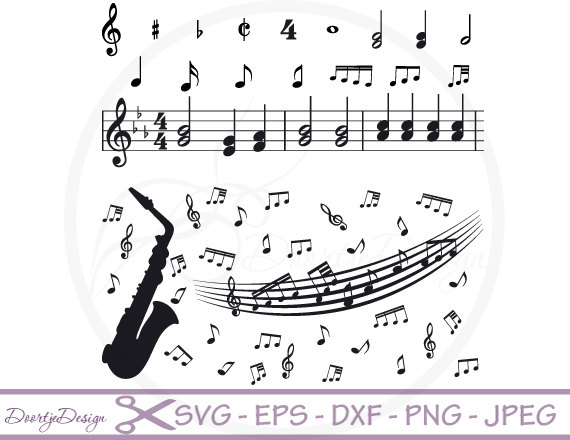 Drawn music notes crochet Etsy EPS SVG files