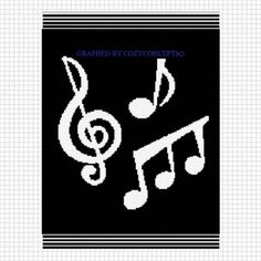 Drawn music notes crochet Graph Music pattern emailed crochet