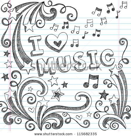 Drawn music notes cute Vector on Lined Notes to