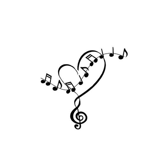 Drawn music notes cute Music Tattoo And Heart great