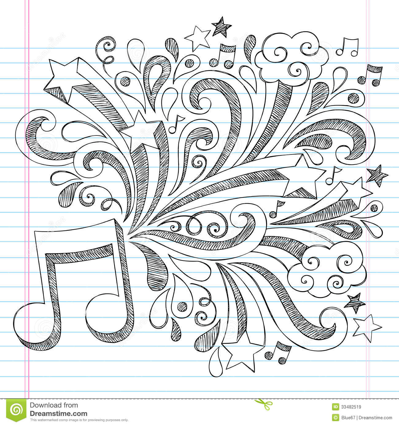 Drawn music notes doodle art This draw more a how