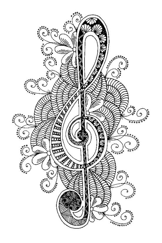 Drawn music notes doodle art