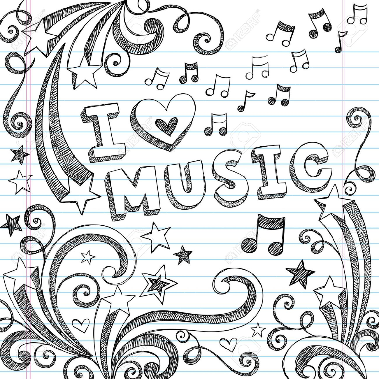Drawn music notes doodle art Love With To Music Notebook