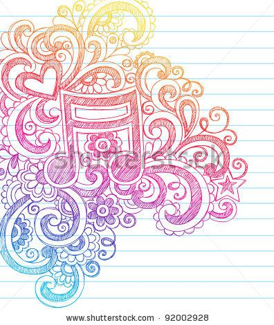 Drawn music notes doodle art Note Hearts to and with