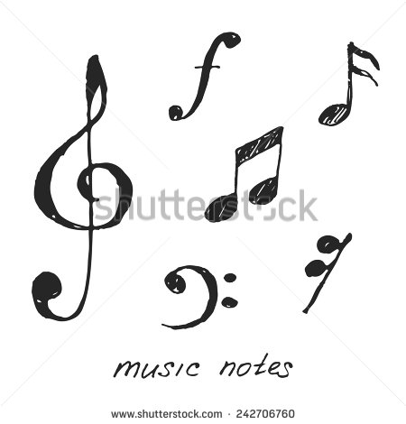 Drawn music notes easy  242706760 Vector Hand Music