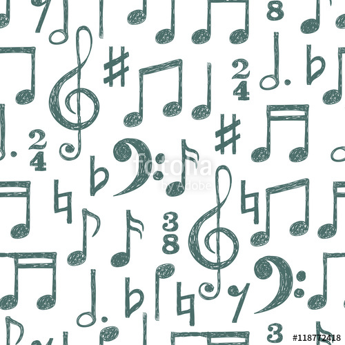 Drawn music notes free music Seamless pattern and colors notes