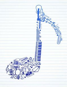 Drawn music notes girly Keep Music Microphone Alive Here