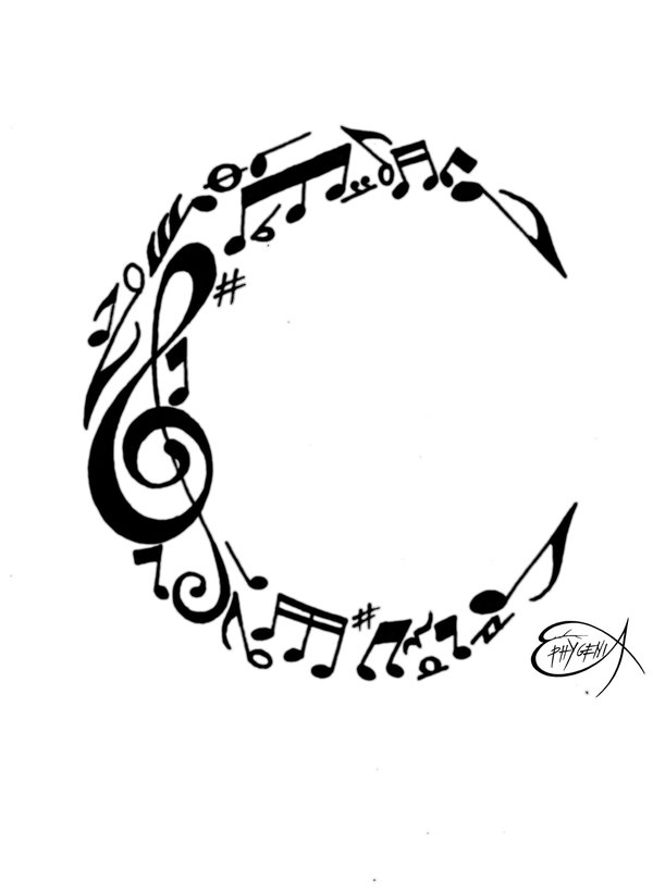 Drawn music notes girly Images  Note Music Moon