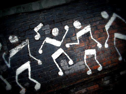 Drawn music notes graffito DJ Is a RHYTHM notes