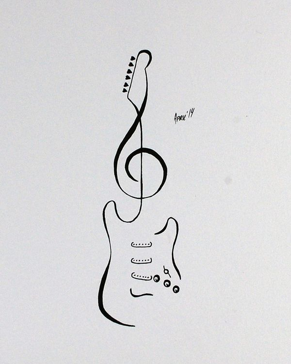 Drawn music notes guitar Flash on Guitar Tattoo Pinterest