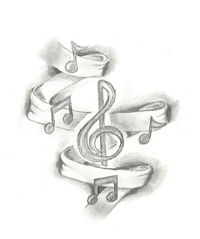 Drawn music notes guitar Note on designs music Pinterest