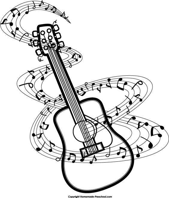 Drawn music notes guitar Guitar cliparts white Guitar Black