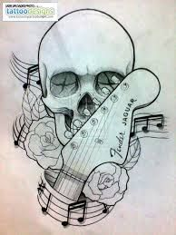 Drawn music notes guitar Tattoo Design Search guitar Sugar