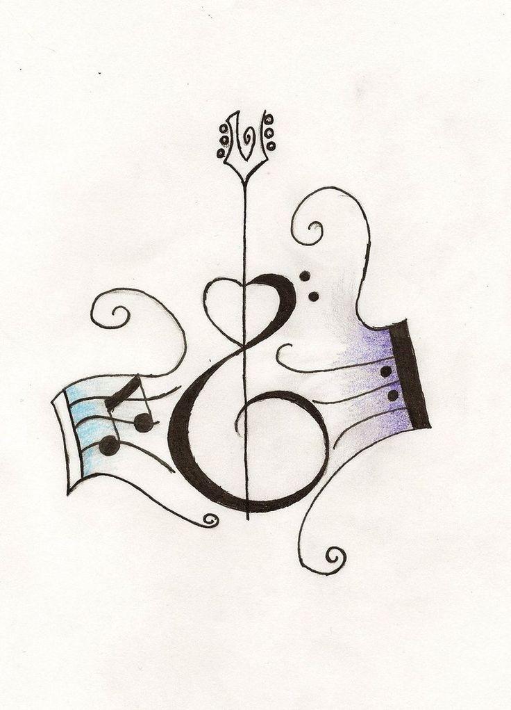 Drawn music notes guitar Bass tattoo on tattoos Pinterest