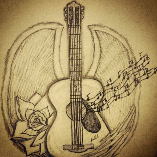 Drawn music notes guitar To 11 & this Want