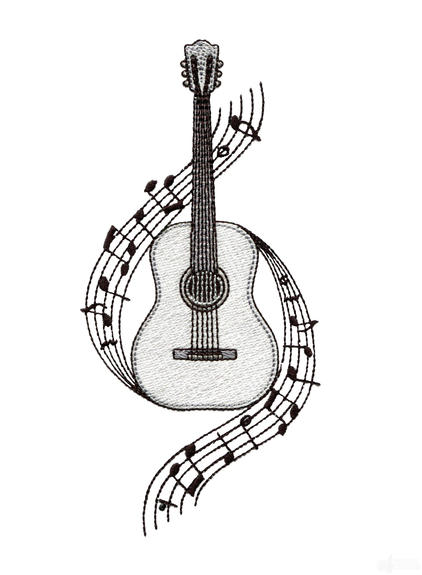 Drawn music notes guitar Embroidery Guitar Guitar  designs