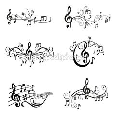 Drawn music notes hand holding  of — Images vector