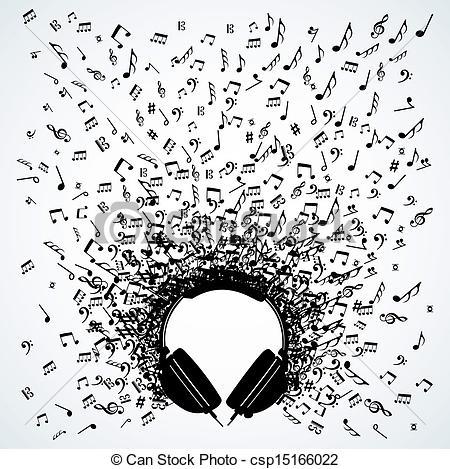 Headphone clipart music note Csp15166022 Vector of Music headphones