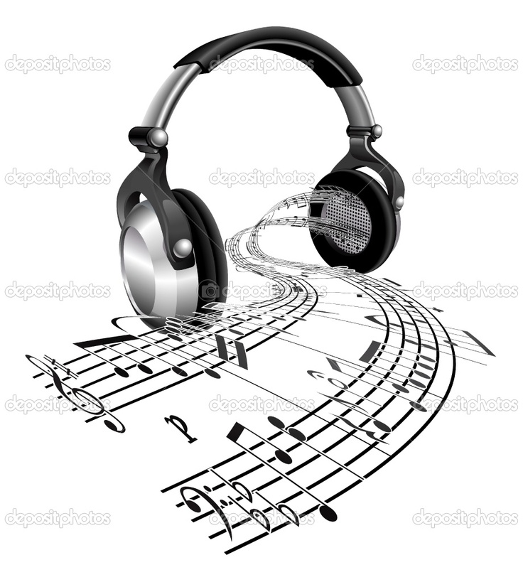Drawn music notes simple Pin headphones on images this