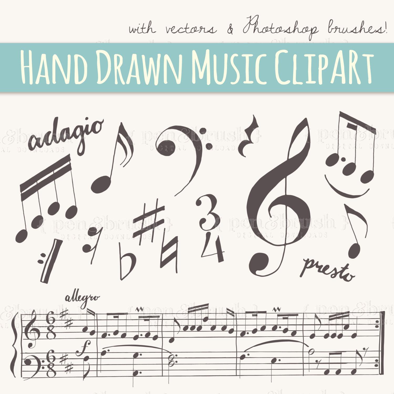 Drawn music notes key Hand Music ART:  Brushes