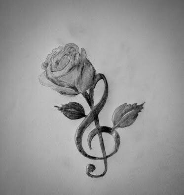 Drawn music notes key On rose and Pinterest tattoo