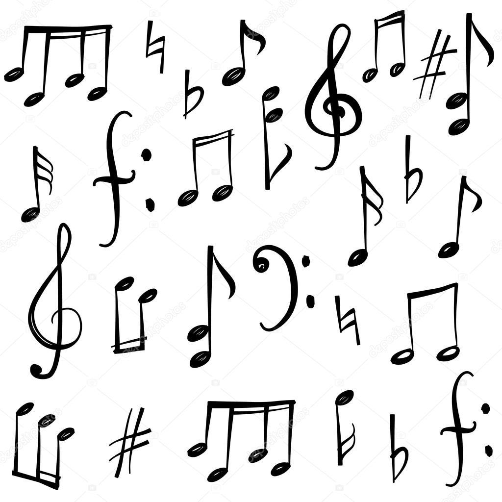 Drawn music notes line drawing Hand — sketch YokoDesign Stock