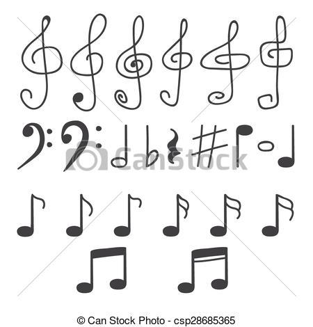 Drawn music notes line drawing Notes Set Vector notes drawn
