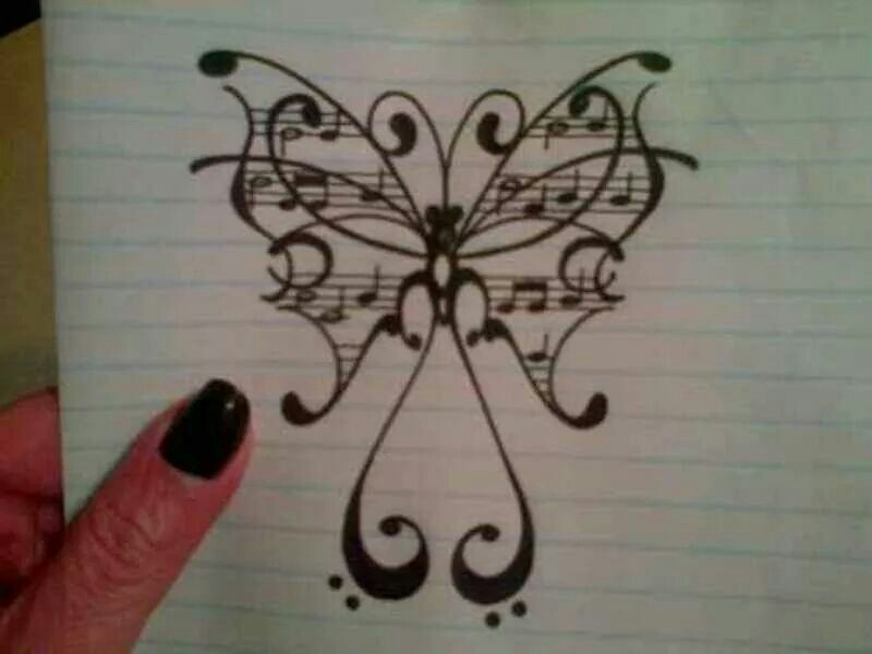 Drawn music notes little Notes Music Tattoo Ideas wings