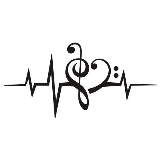 Drawn music notes love heart Treble Bass HEART ideas heart
