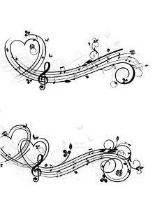 Drawn music notes love heart Drawings Music Sheet Music Heart