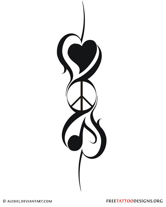Drawn peace sign two finger Design on the tattoo stuff