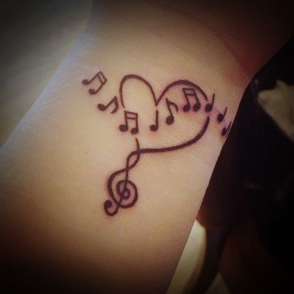 Drawn music notes love heart Lyrics Small Tattoo ideas tattoos