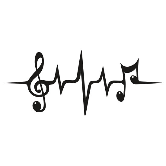 Drawn music notes love heart Dance Wave Pulse Clef Treble