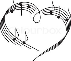 Drawn music notes love heart Downloaded can love music! notes