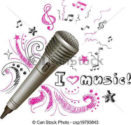 Drawn musical music mic Of Music doodle EPS csp19793843