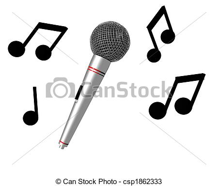 Drawn microphone music notes clipart Of 3D Karaoke microphone music