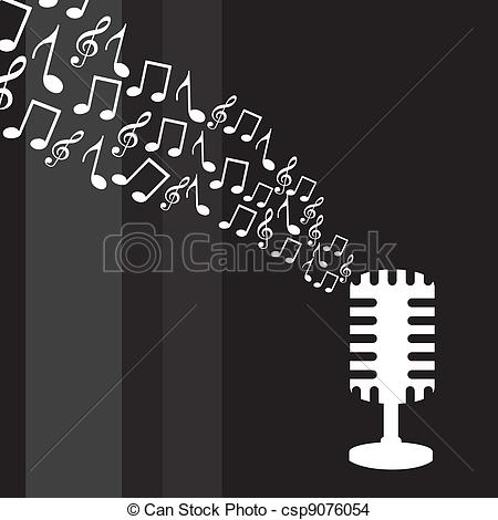 Drawn music notes music mic EPS  music notes Vector
