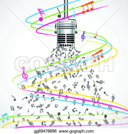 Drawn microphone music notes clipart Edit of colorful vector musical