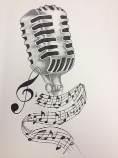 Drawn music notes music mic Drawing by Tattoo Designs Note