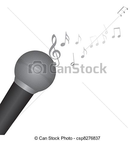Drawn music notes music mic Microphone white of with Illustration
