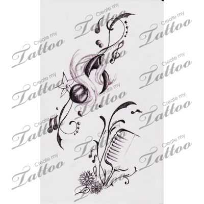 Drawn music notes simple Tattoo Tattoos Musical Music Notes