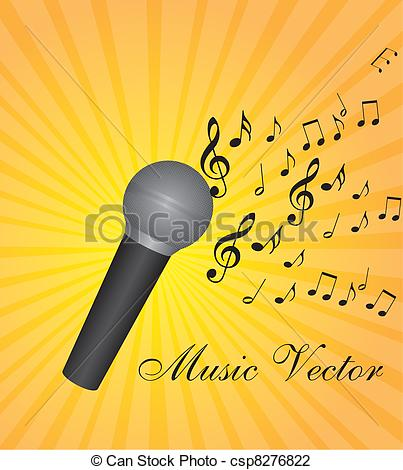 Drawn music notes music mic Of music Illustration microphone Vector
