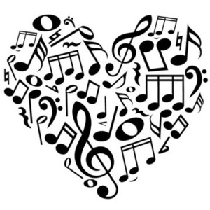 Drawn music notes music mic Music Decal in Wall Heart