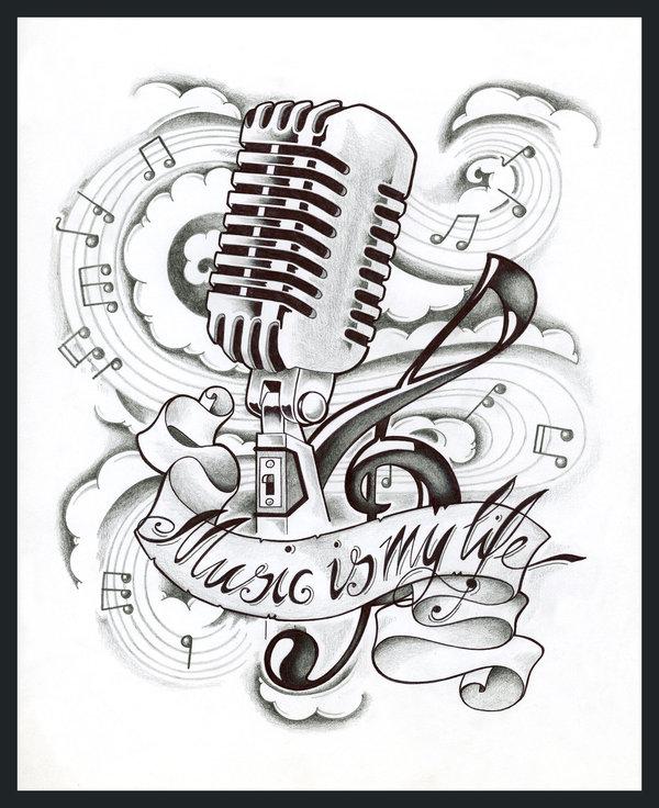 Drawn music notes music mic #tattoo jpg tattoo #mic life