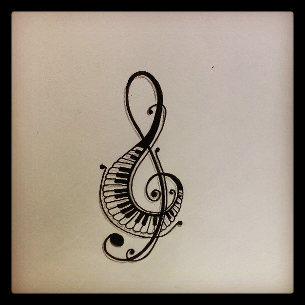 Drawn music notes music sign Symbols Clipart Tattoos Clipart Symbols