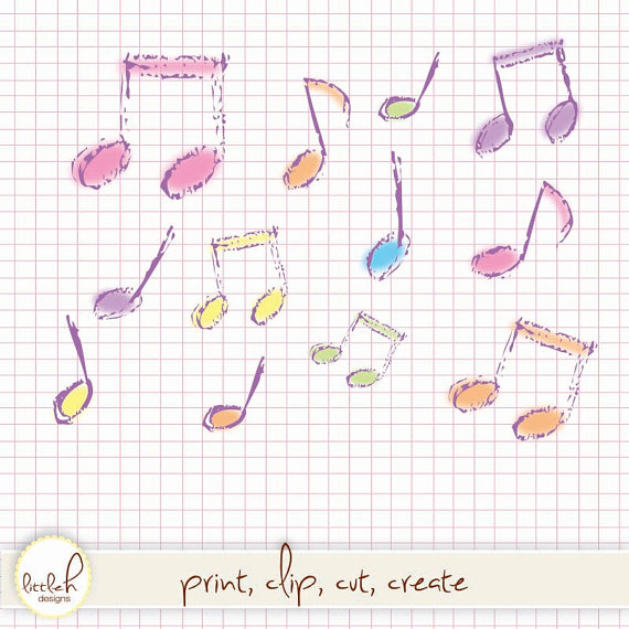 Drawn music notes mysic / Hand Clipart 16 Files