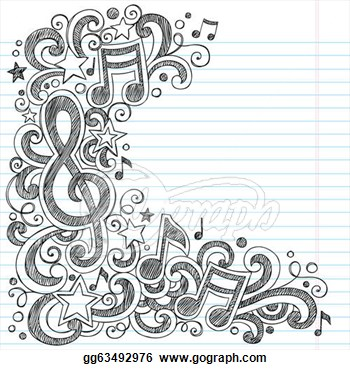 Drawn music notes notebook Music Doodle & Doodle Page