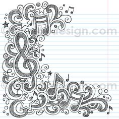 Drawn music notes notebook Music Notes  Love by