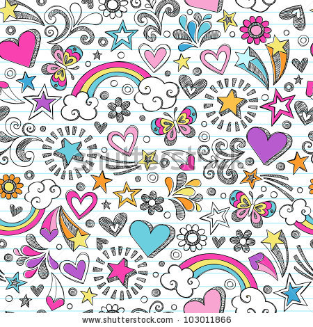 Drawn music back to school Doodles Music Rainbow stock vector